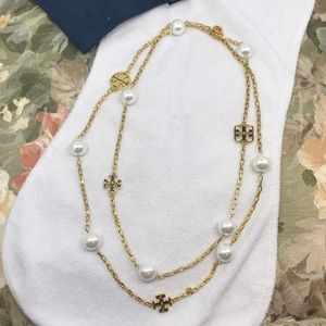 Tory Burch gold tone long necklace with pearls